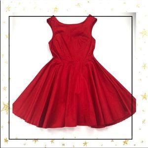 TOBI Red Celia Skater holiday party a-line dress